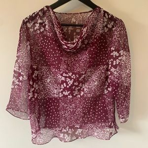 2/$18 Sheer / Cowl Neck / Blouse / Floral Print